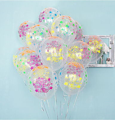 10X Star Clear Neon colors Latex Balloons Happy Birthday B-day Party Decorations - Neon Colors Decorations