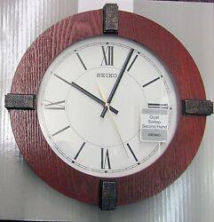 SEIKO NEW ROUND WOODEN WALL CLOCK 12 IN DIAMETER BAUHAUS QXA666BLH
