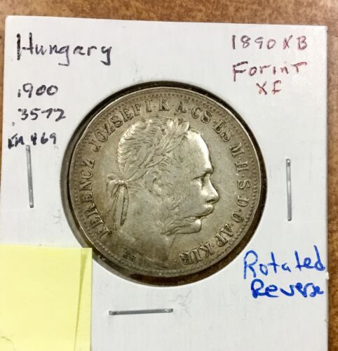HUNGARY - Franz Josef  1 Forint 1890 – Silver – XF-  rotated reverse