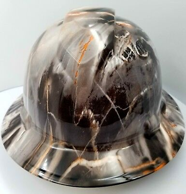 Full Brim Hard Hat Custom Hydro Dipped New Marbalized Marble Head Granite Rock