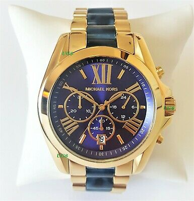 Michael Kors  Watch Mens Everest Chrono Navy Dial Gold Band MK6268 Genuine VIP