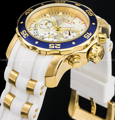 Invicta 48m Men Pro Diver Scuba Chronograph 18K Gold IP