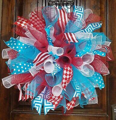 Dr Seuss Wreath (Big, Fluffy, Red, White, Turquoise Handmade Deco Mesh Wreath  25