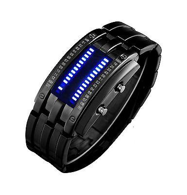 Binary Matrix Blue Led Digital Waterproof Watch Mens Classic Cr    Free Shipping