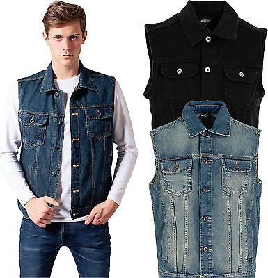 Urban Classics Herren Denim Weste Jeansweste Jeans Jeansjacke Jacke schwarz blau Schwarz Weste Jacke