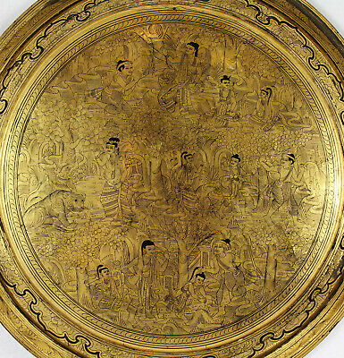 Antique Chinese Asian Gold Leaf Lacquered Wood Charger