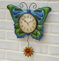 Metal Butterfly Pendulum Wall Mounted Clock - Indoor Gardening Accent