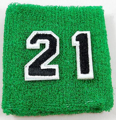 One Custom Number Green Black Wristband Sweatband Football Baseball Basketball