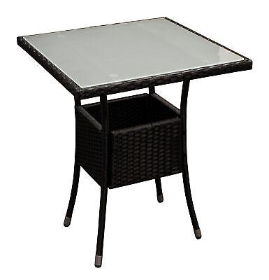 Bistrotisch Gartentisch Rattantisch Gelfechttisch PIENZA 60x60cm Rattan schwarz
