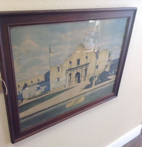 MISSOURI PACIFIC RAILROAD LINES OLD FRAMED STATION PICTURE OF THE ALAMO