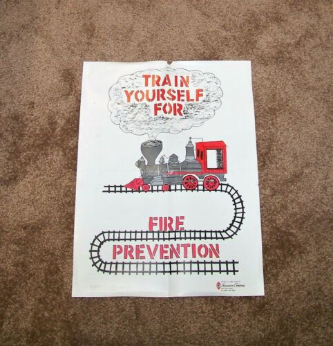 Vintage TRAIN YOURSELF FOR FIRE PREVENTION Poster PSA RARE Service Station IMT