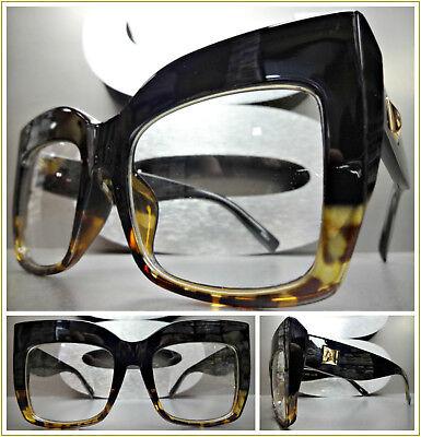 OVERSIZED VINTAGE RETRO CAT EYE Style Clear Lens EYE GLASSES Thick Black (Women's Glass Frames Styles)