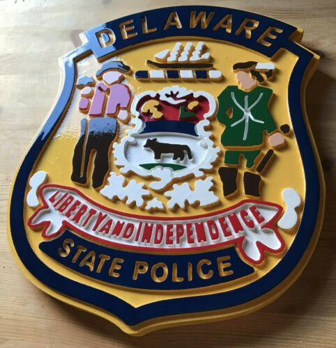 Delaware State Police Patch Sign 3D routed wood plaque patch sign Custom