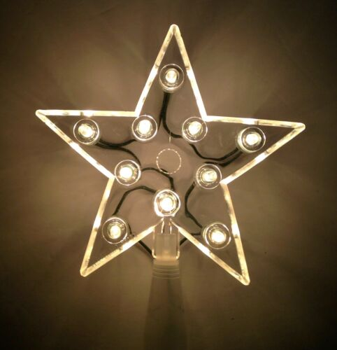Vintage Christmas Tree Topper LIGHTED STAR Neon Effect Plastic in Box Taiwan