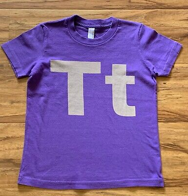 AMERICAN APPAREL Girl Boy T-SHIRT Sz 6 Purple Gray Monogram letter T t *TB Monogrammed Childrens Clothing