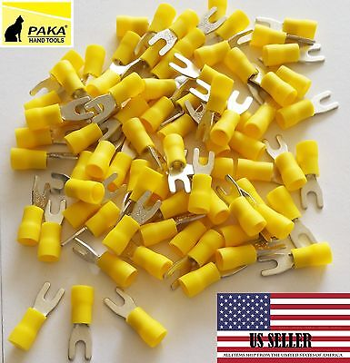 150 Pcs Fork Spade Terminals Vinyl Yellow 12 -10 Wire Size 6 Stud Size 3.7 Mm