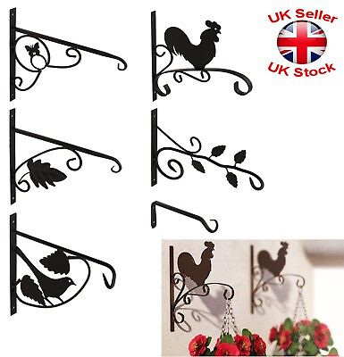 Black Decorative Hanging Basket Wall Flower Pot Brackets Holder 6 Types