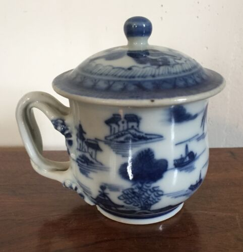 Chinese Export Porcelain Cup & Cover Pot de Creme 19th c. Canton Blue and White