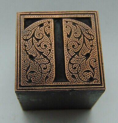 Printing Letterpress Printers Block Letter T Floral Design Copper Face All Metal