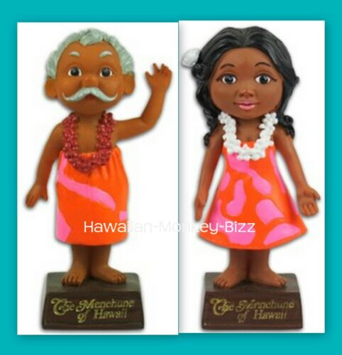 "Miniature Mini ""UNCLE & AUNTY MENEHUNE"" SET Hawaiian Dashboard Dolls! ~ 4 INCHES"