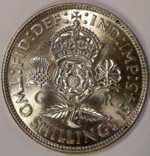 1945 Great Britain Silver FLORIN BU NICE COIN #A641