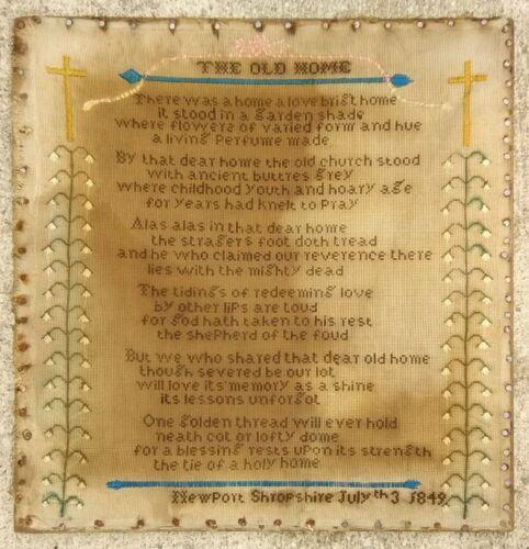 """Original 1849 SAMPLER """"The Old Home"""" July 3rd Framed Newport Shropshire ENGLAND"""