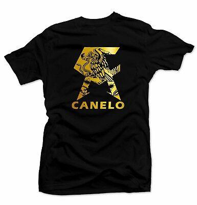CANELO Men's T-shirt.Mexico flag, Alvarez Boxing Gold Foil.Unisex Black -