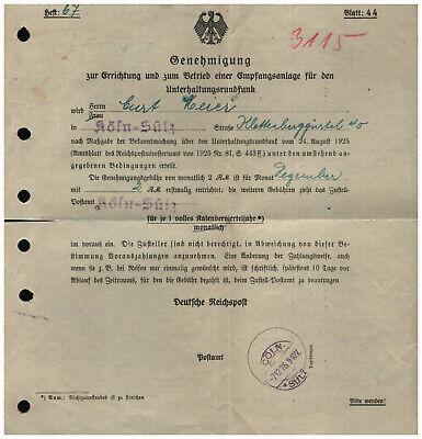 Deutsche Reichspost 1925 - Rundfunkgenehmigung Köln Sülz Empfang Radio