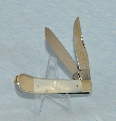 """1ST GENERATION FIGHT'N ROOSTER MOTHER OF PEARL SADDLEHORN KNIFE UNUSED"""" NO CASE"""