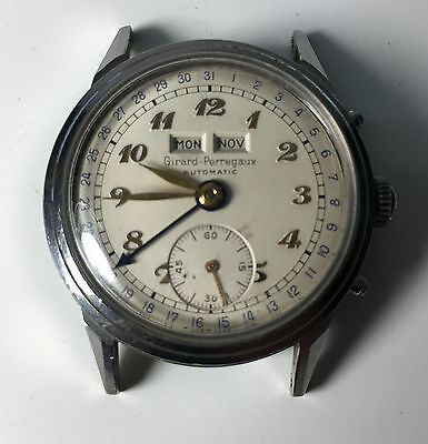 Vintage Men's Girard-Perregaux Automatic Stainless Calendar Watch Runs Swiss