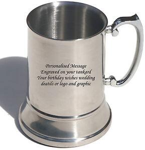 Personalised Engraved Stainless Steel tankard - Birthday Gift