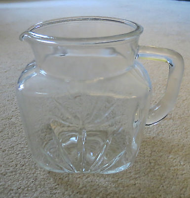VINTAGE FEDERAL PRESCUT STAR DESIGN CLEAR DEPRESSION GLASS  PITCHER (u)