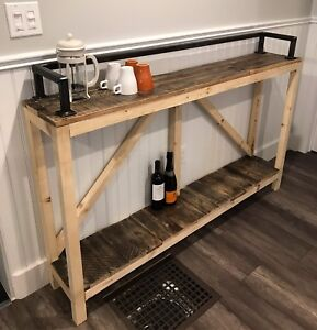 Reclaimed Wood + Iron Industrial Sofa or Console Table