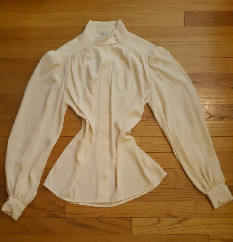 Ann Klein Button Up High Neck Blouse With Billow Bishop Sleeves 70s