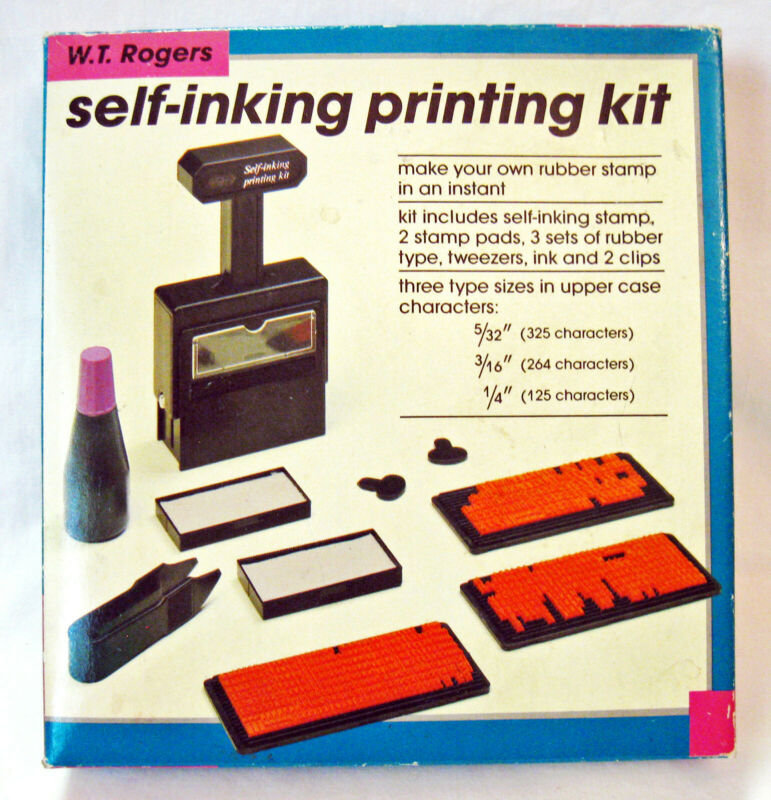 Vintage SELF-INKING PRINTING KIT W.T. Rogers Co Used Missing Parts