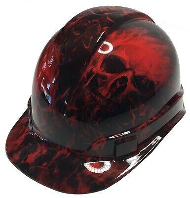 Hard Hat Ridgeline Cap Style Custom Red Flaming Skulls W Free Brb T-shirt