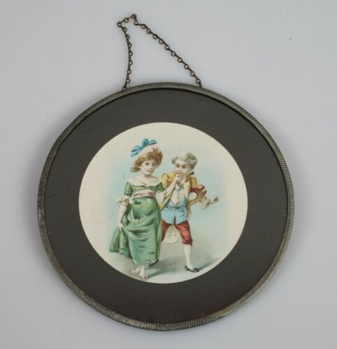 Antique Flu Glass Cover Image Victorian Young Boy and Girl