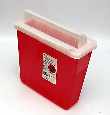 Box Of 20 Sharps Container 5 Quart Covidien In Room 851301 Transparent Red W Lid