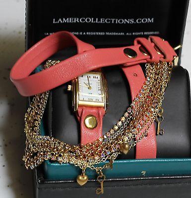 Multi Chain Wrap Watch - La Mer Coral Gold TOKYO Crystal Chain wrap watch with built in multi bracelets
