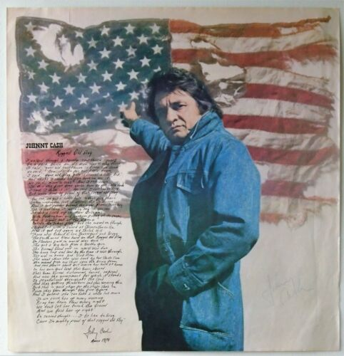 """Johnny Cash AUTOGRAPHED """"Ragged Old Flag"""" 1974 Promo Poster"""