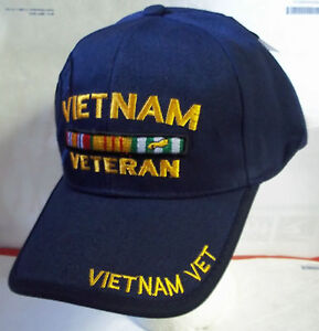 Vietnam War Veteran Black Embroidered Hat Baseball Cap