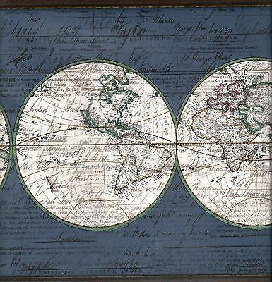 OLD WORLD MAP ON BLUE WALLPAPER BORDER