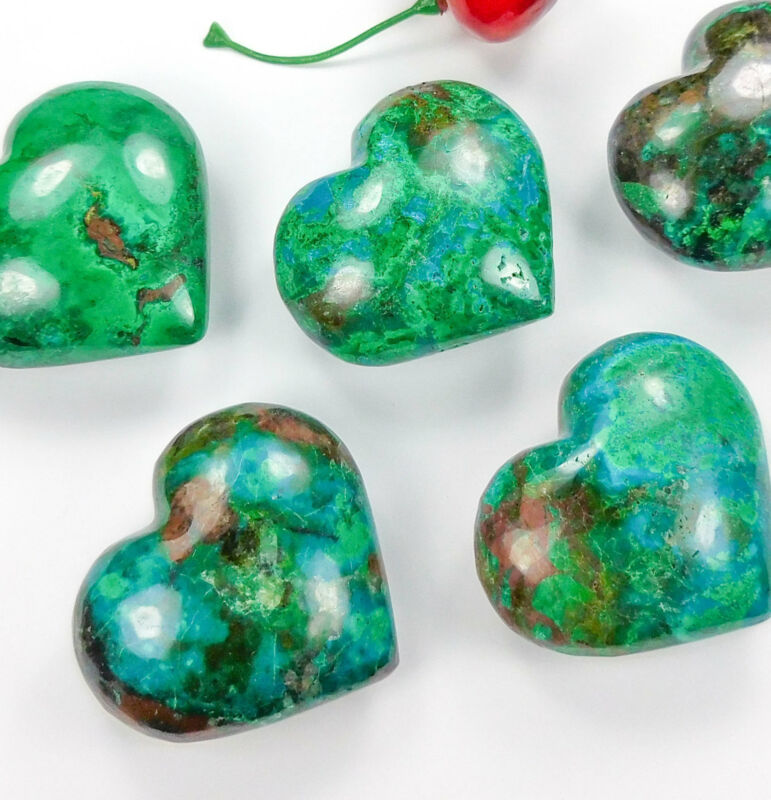 Chrysocolla Heart - Large Carved Heart Palm Stone - Gemstone Puffy Hearts