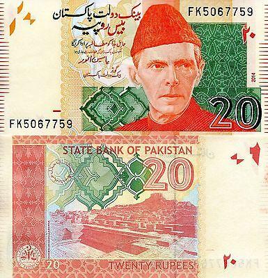 Pakistan 20 Rupees Banknote World Paper Money Unc Currency Pick P55h Ali Jinnah