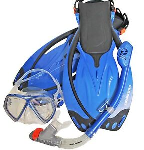 Adult-L-XL-U-S-Divers-Snorkel-Mask-Fins-Men-9-13-Women-10-14-Snorkeling-Bag-Set