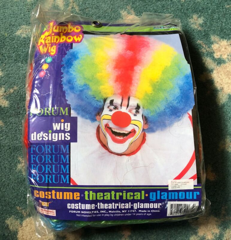 Deluxe Jumbo Rainbow Afro Clown Wig Costume Accessory Unisex Adult Halloween