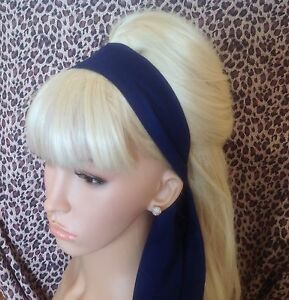 PLAIN-NAVY-COTTON-FABRIC-HEAD-SCARF-HAIR-BAND-SELF-TIE-BOW-50s-60s-RETRO-STYLE