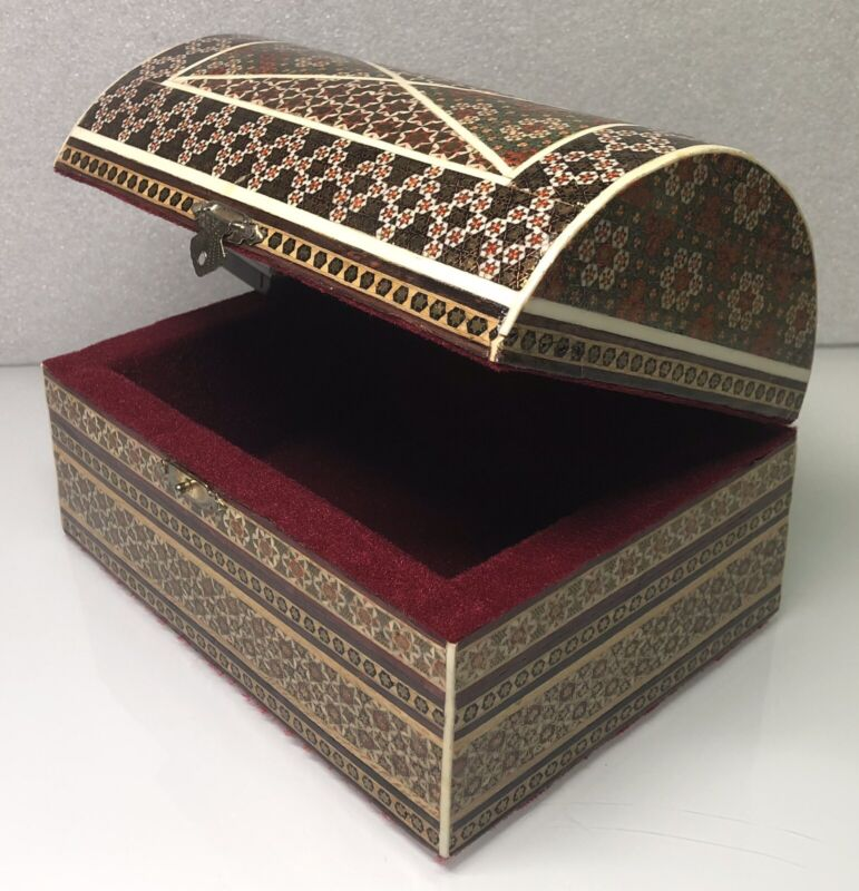 """Vintage 8"""" x 5.5"""" x 5"""" Persian Khatam Inlaid Wooden Jewelry Box, Container"""