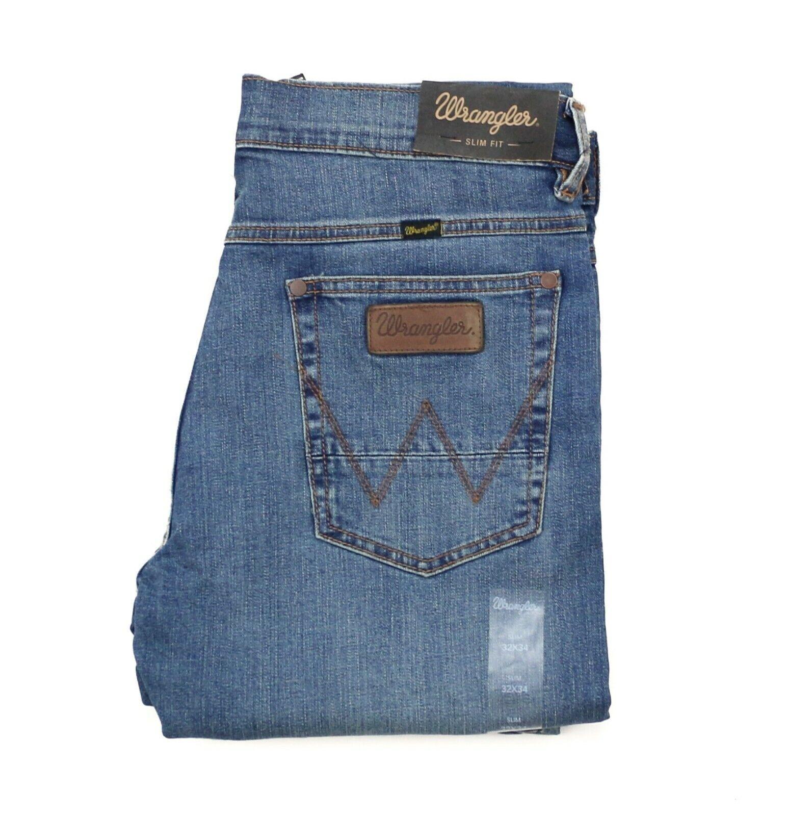 New Wrangler Retro Slim Fit Straight Leg Jeans Men's Sizes