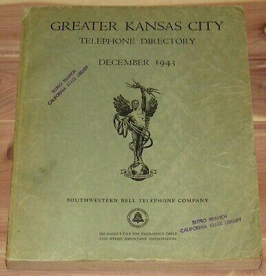 DECEMBER 1943 GREATER KANSAS CITY TELEPHONE DIRECTORY BOOK, KANSAS, MISSOURI